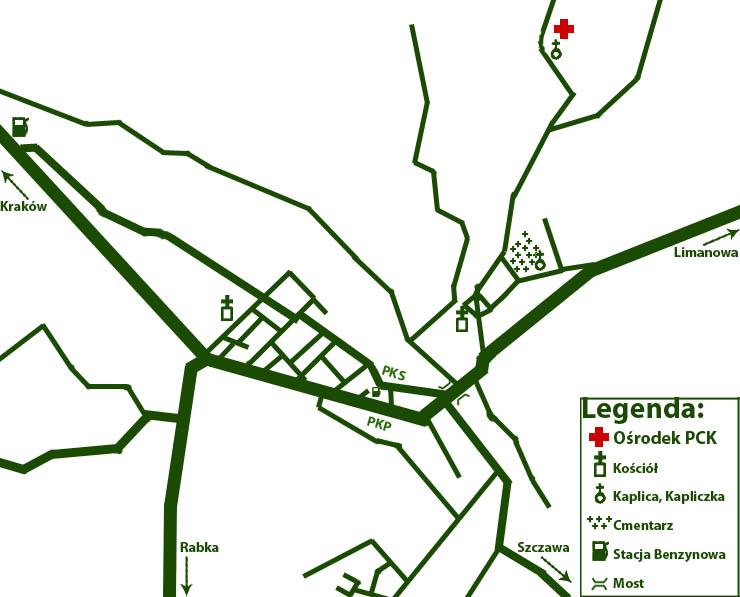 Ośrodek PCK w Mszanie Dolnej - mapa